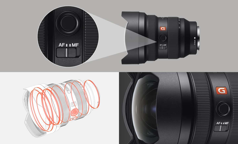 Imagen del producto del cambio de modo de enfoque y una ilustración que describe el diseño resistente al polvo y la humedad